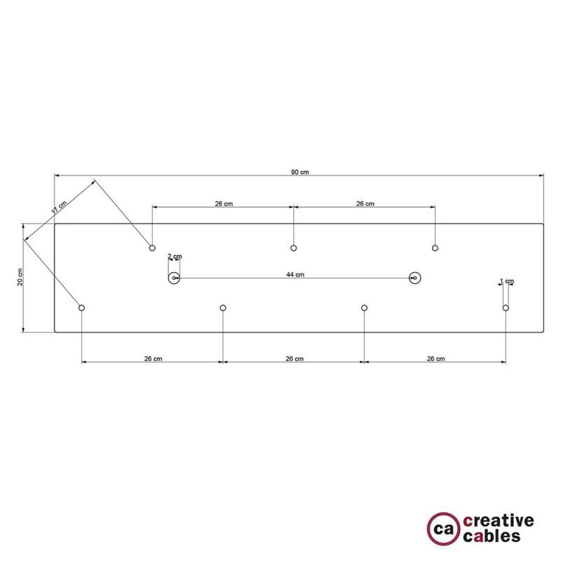 Rosetón XXL rectangular 90x20cm a 7 agujeros blanco completo de accesorios