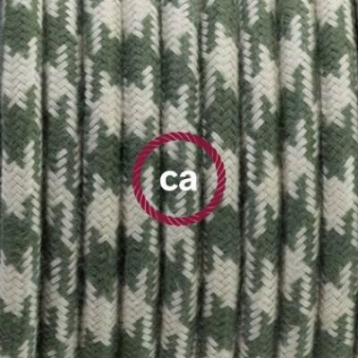 Pendel en porcelana, lámpara colgante cable textil Bicolor Verde Tomillo y Gris pardo en Algodón RP30