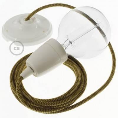 Pendel en porcelana, lámpara colgante cable textil ZigZag Miel Dorado y Antracita en Algodón RZ27