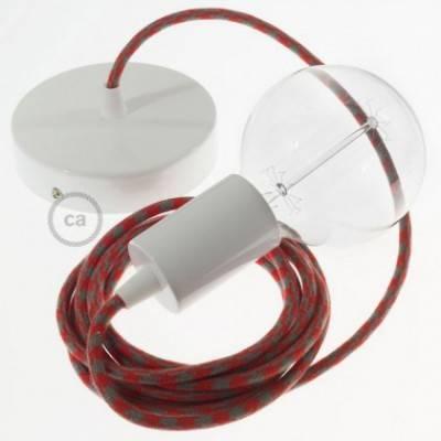 Pendel único, lámpara colgante cable textil Bicolor Rojo Fuego y Gris en Algodón RP28
