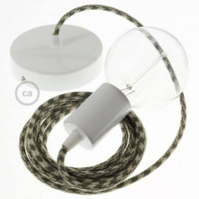 Pendel único, lámpara colgante cable textil Bicolor Verde Tomillo y Gris pardo en Algodón RP30