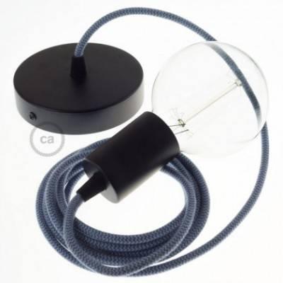 Pendel único, lámpara colgante cable textil ZigZag Gris Piedra y Océano en Algodón RZ25