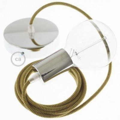 Pendel único, lámpara colgante cable textil ZigZag Miel Dorado y Antracita en Algodón RZ27