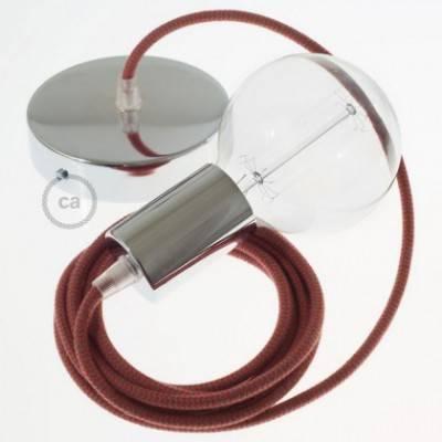 Pendel único, lámpara colgante cable textil ZigZag Rojo Fuego y Gris en Algodón RZ28