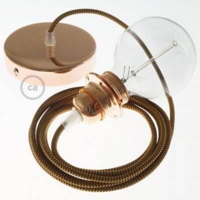 Pendel para pantalla, lámpara colgante cable textil ZigZag Dorado y Burdeos en tejido Efecto Seda RZ23