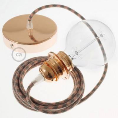 Pendel para pantalla, lámpara colgante cable textil Bicolor Rosa Viejo y Gris en Algodón RP26