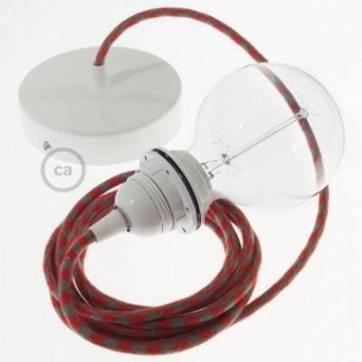 Pendel para pantalla, lámpara colgante cable textil Bicolor Rojo Fuego y Gris en Algodón RP28