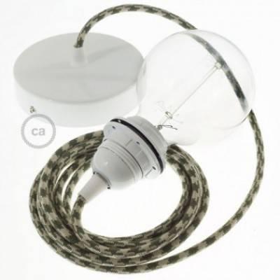 Pendel para pantalla, lámpara colgante cable textil Bicolor Verde Tomillo y Gris pardo en Algodón RP30