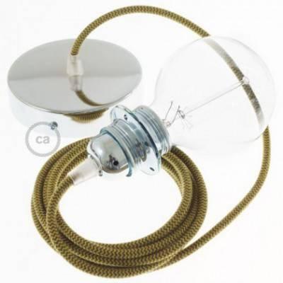 Pendel para pantalla, lámpara colgante cable textil ZigZag Miel Dorado y Antracita en Algodón RZ27