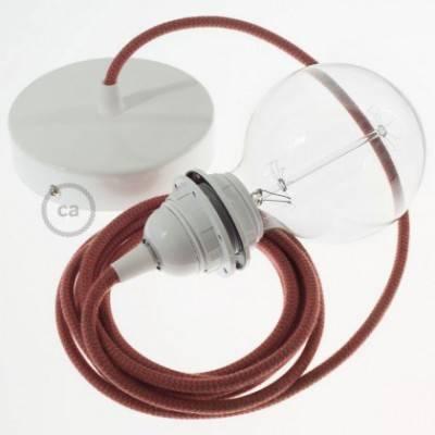 Pendel para pantalla, lámpara colgante cable textil ZigZag Rojo Fuego y Gris en Algodón RZ28