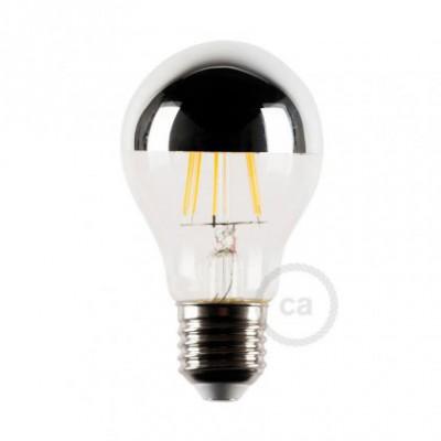 Bombilla LED media esfera plateado 4W E27 2700K