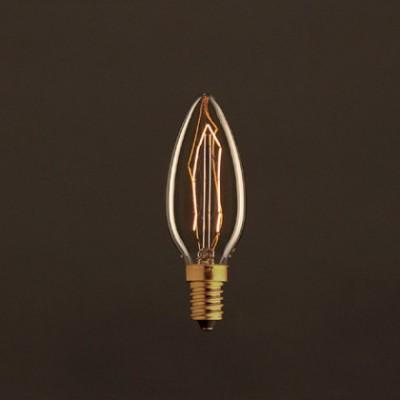 Bombilla Vintage Dorada Vela C35 Filamento de Carbono ZigZag 30W E14 Dimmable 2000K