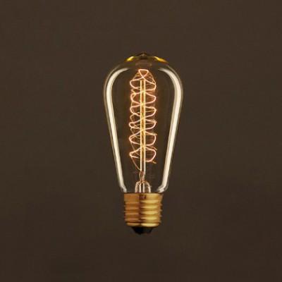 Bombilla Vintage Dorada Edison ST58 Filamento de Carbono en Espiral 25W E27 Dimmable 2000K