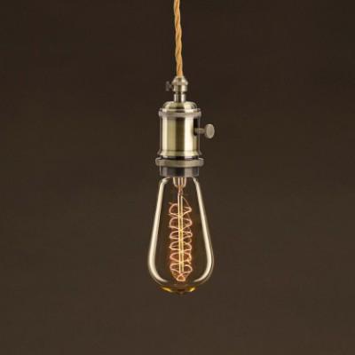 Bombilla Vintage Dorada Edison ST58 Filamento de Carbono en Espiral 30W E27 Dimmable 2000K