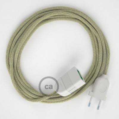Alargador eléctrico con cable textil RN01 Lino Natural Neutro 2P 10A Made in Italy.