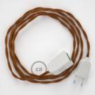 Alargador eléctrico con cable textil TM22 Efecto Seda Whisky 2P 10A Made in Italy.