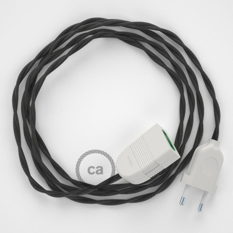 Alargador eléctrico con cable textil TM26 Efecto Seda Gris Oscuro 2P 10A Made in Italy.