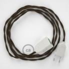 Alargador eléctrico con cable textil TN04 Lino Natural Marrón 2P 10A Made in Italy.