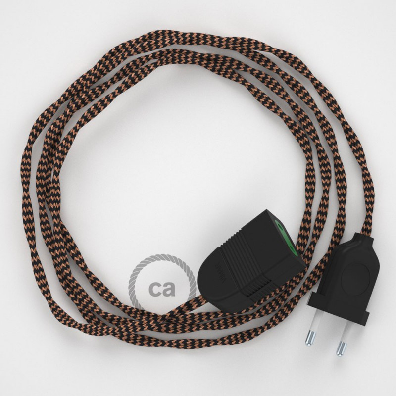 Alargador eléctrico con cable textil TZ22 Efecto Seda Negro y Whisky 2P 10A Made in Italy.