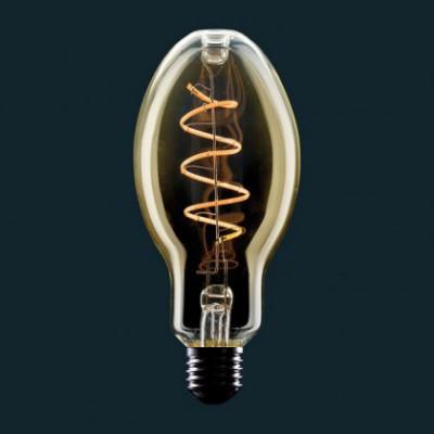Bombilla Dorada LED E75 Vela Filamento Curvo en Espiral 4W E27 Dimmable 2000K