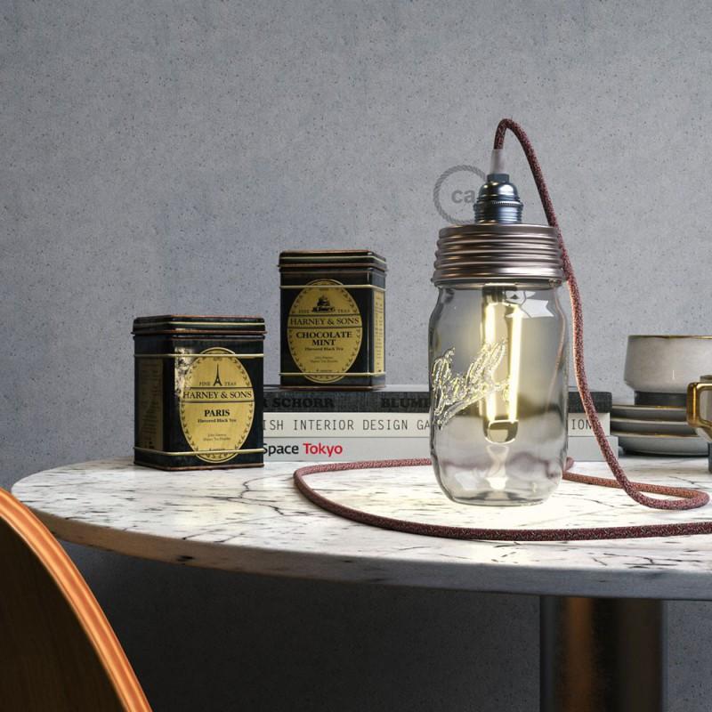 Kit de iluminación para tarro de vidrio en metal color Zinc, prensaestopa cónico y portalámparas E14 de metal cromado