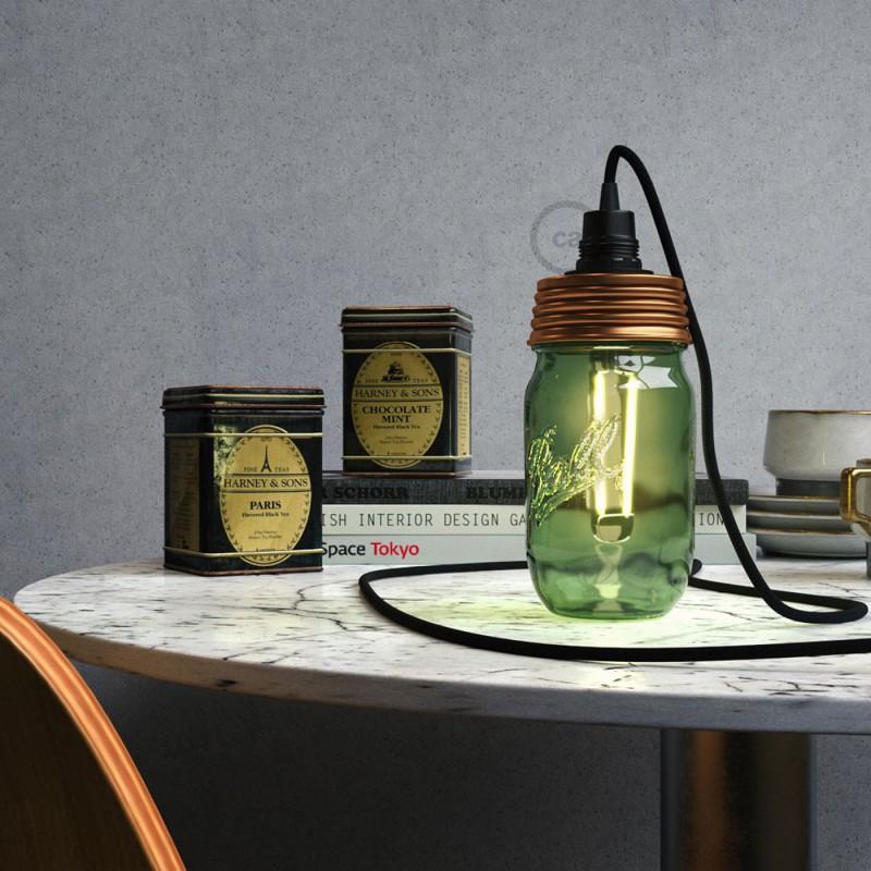 Kit de iluminación para tarro de vidrio en metal color Bronce, prensaestopa cónico y portalámparas E14 en baquelita negra