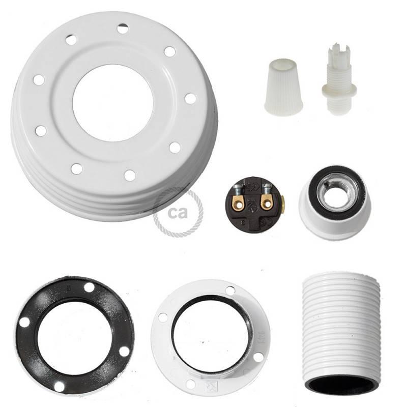 Kit de iluminación para tarro de vidrio en metal color Blanco, prensaestopa cónico y portalámparas E14 en baquelita blanca