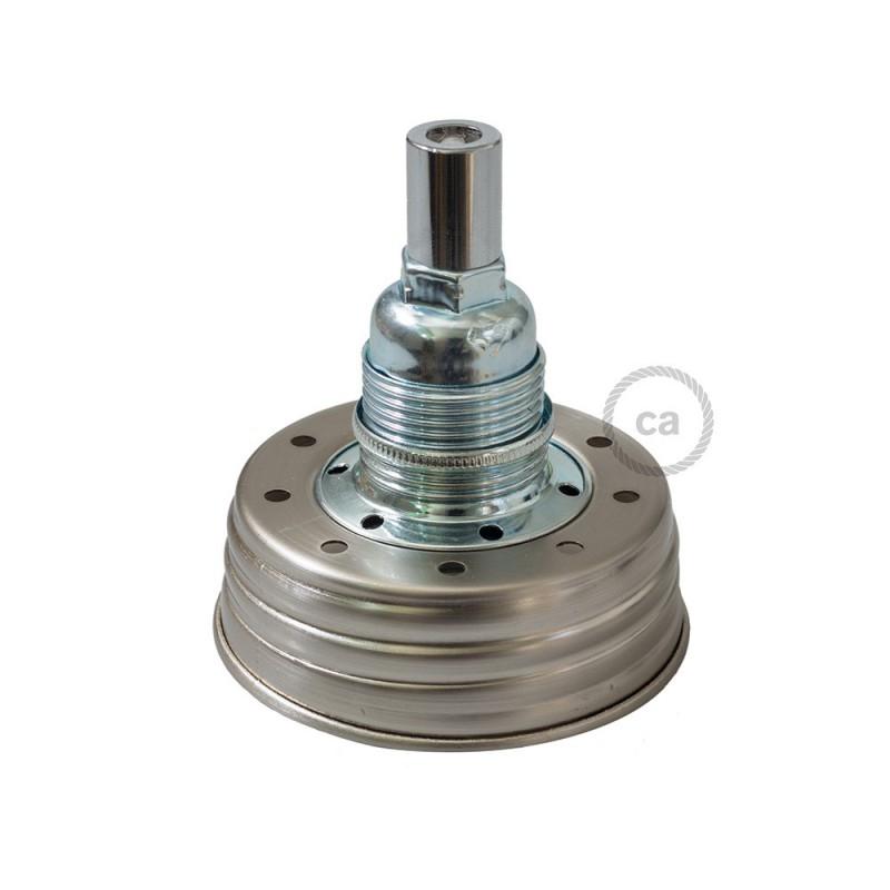 Kit de iluminación para tarro de vidrio en metal color Zinc, prensaestopa cilíndrico y portalámparas E14 de metal cromado