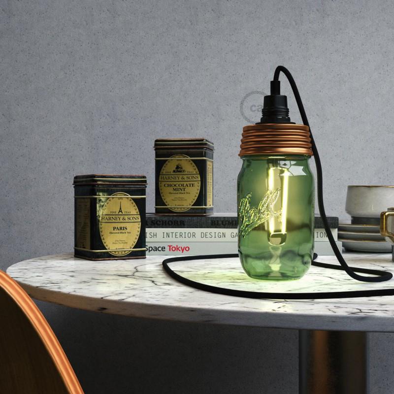 Kit de iluminación para tarro de vidrio en metal color Bronce, prensaestopa cilíndrico y portalámparas E14 en baquelita negra