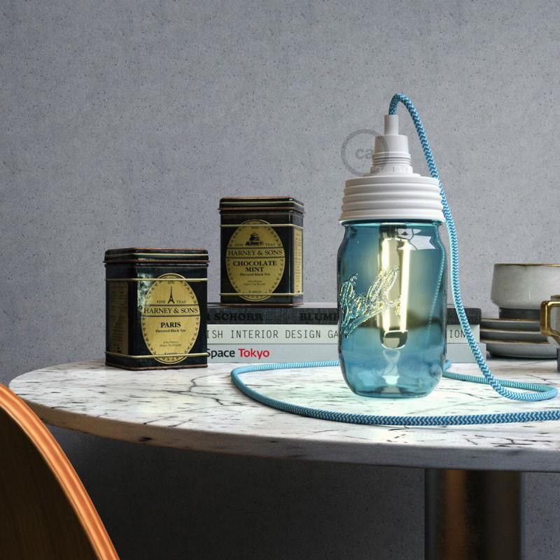 Kit de iluminación para tarro de vidrio en metal color Blanco, prensaestopa cilíndrico y portalámparas E14 en baquelita blanca