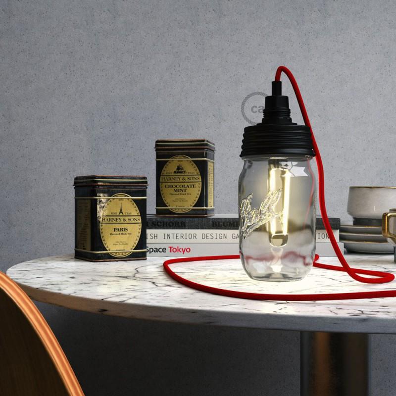 Kit de iluminación para tarro de vidrio en metal color Negro, prensaestopa cilíndrico y portalámparas E14 en baquelita negra