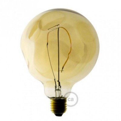 Bombilla Dorada Led Globo G125 de vidrio forma irregular, filamento único 2.5W E27 Decorativa Vintage 2000K