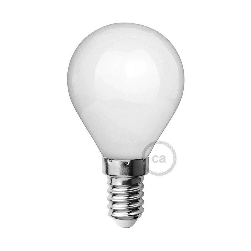 Bombilla LED Blanco Leche Mini Globo G45 4W E14 Regulable 2700K