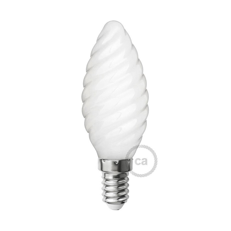 Bombilla LED Blanco Leche Vela Rizada C35 4W E14 Regulable 2700K