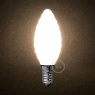 Bombilla LED Blanco Leche Vela Rizada C35 4W E14 Regulable 2700K