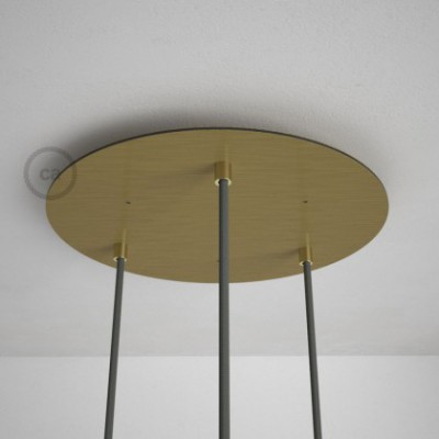 Rosetón XXL circular 35cm a 3 agujeros latón satinado completo de accesorios