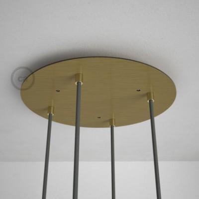 Rosetón XXL circular 35cm a 4 agujeros latón satinado completo de accesorios