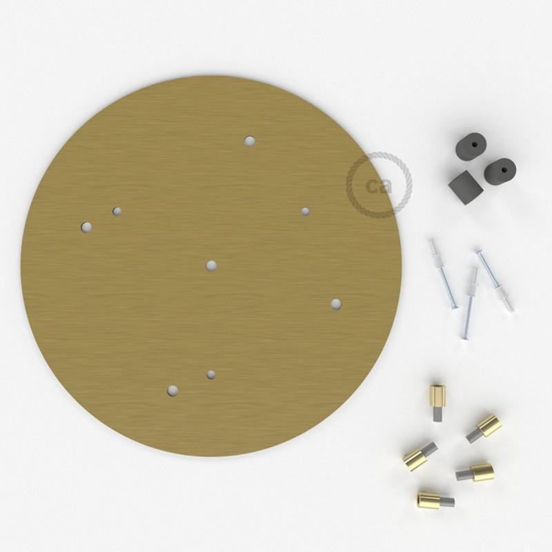 Rosetón XXL circular 35cm a 5 agujeros latón satinado completo de accesorios