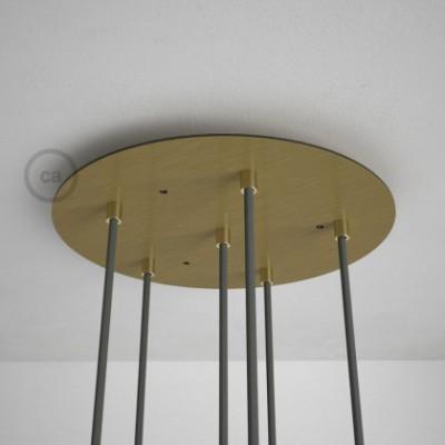 Rosetón XXL circular 35cm a 6 agujeros latón satinado completo de accesorios
