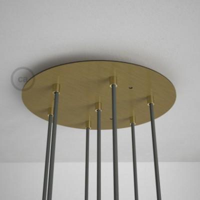 Rosetón XXL circular 35cm a 7 agujeros latón satinado completo de accesorios