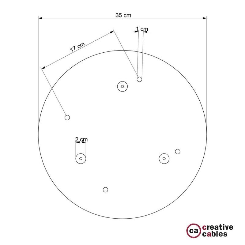 Rosetón XXL circular 35cm a 4 agujeros acero satinado completo de accesorios