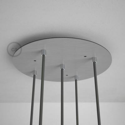Rosetón XXL circular 35cm a 5 agujeros acero satinado completo de accesorios