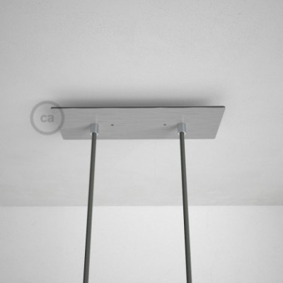 Rosetón XXL rectangular 30x12cm a 2 agujeros acero satinado completo de accesorios