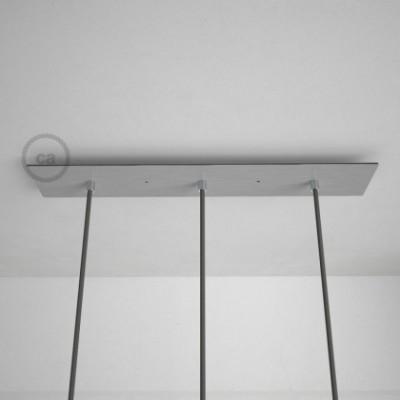 Rosetón XXL rectangular 60x12cm a 3 agujeros acero satinado completo de accesorios