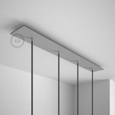 Rosetón XXL rectangular 90x12cm a 4 agujeros acero satinado completo de accesorios