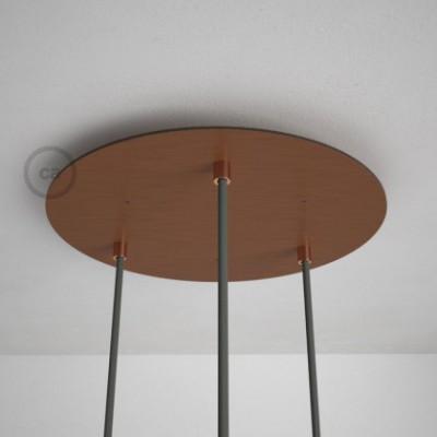 Rosetón XXL circular 35cm a 3 agujeros cobre satinado completo de accesorios