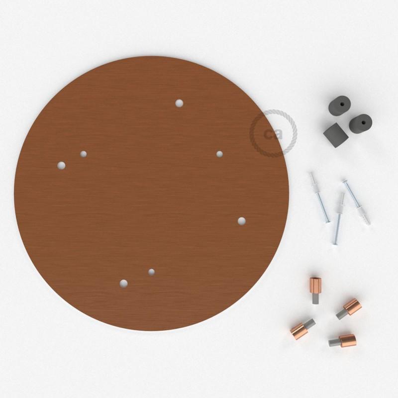 Rosetón XXL circular 35cm a 4 agujeros cobre satinado completo de accesorios