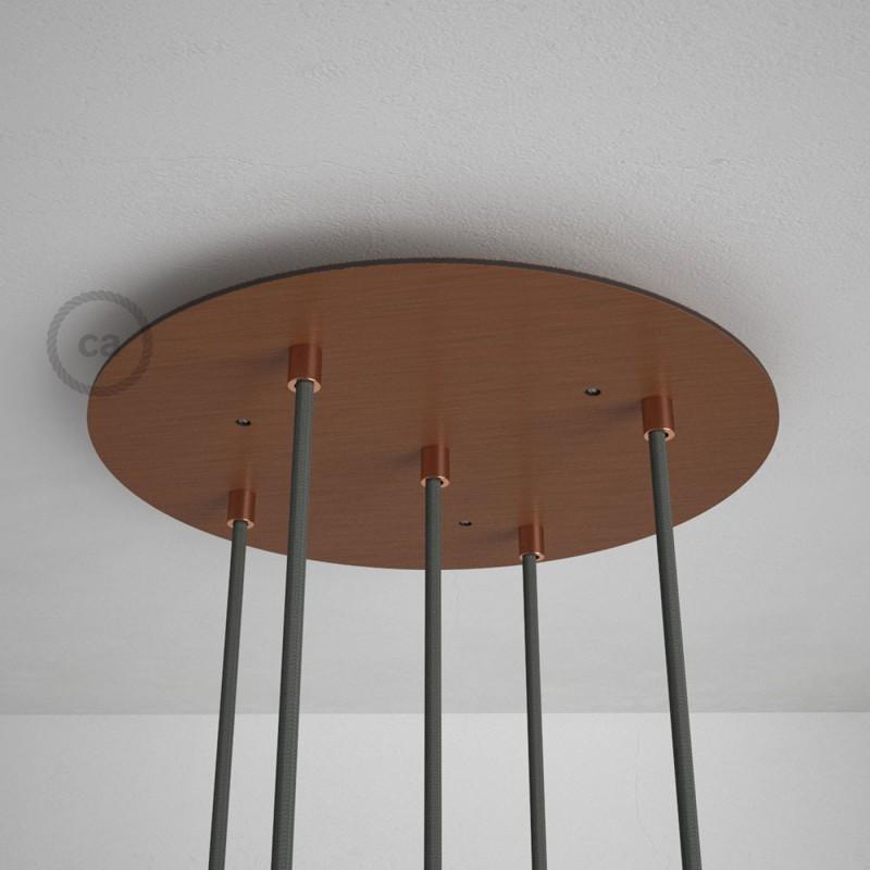 Rosetón XXL circular 35cm a 5 agujeros cobre satinado completo de accesorios