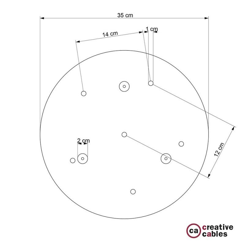Rosetón XXL circular 35cm a 6 agujeros cobre satinado completo de accesorios