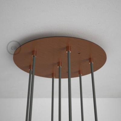 Rosetón XXL circular 35cm a 7 agujeros cobre satinado completo de accesorios